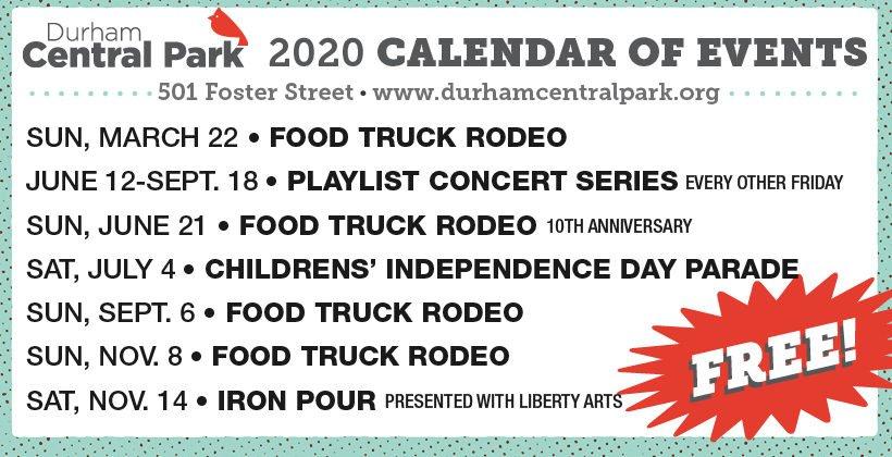 Durham Central Park 2020 Calendar of Events