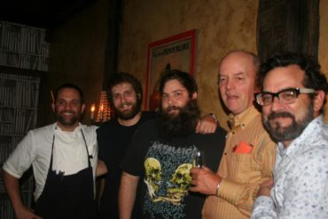 An Evening in San Sebastian. Left to right: Nate Garyantes (chef, Mateo), Chris Garret, Matt Kelly (owner, Mateo), Lex Alexander (host), Andre Tamers (Des Maison Importers)